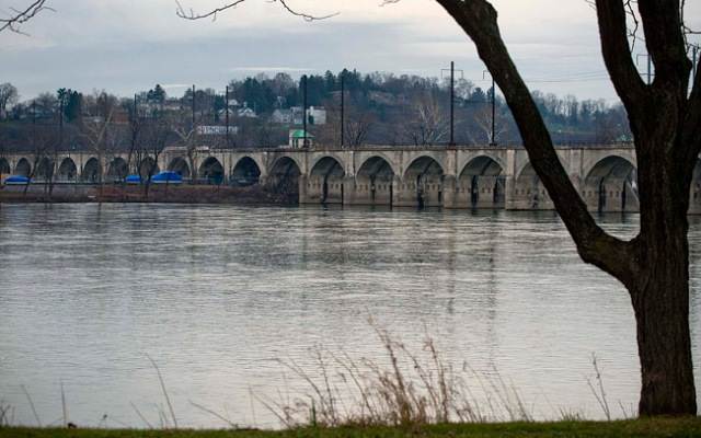 A bridge crosses the Susquehanna River in Harrisburg, Pennsylvania.