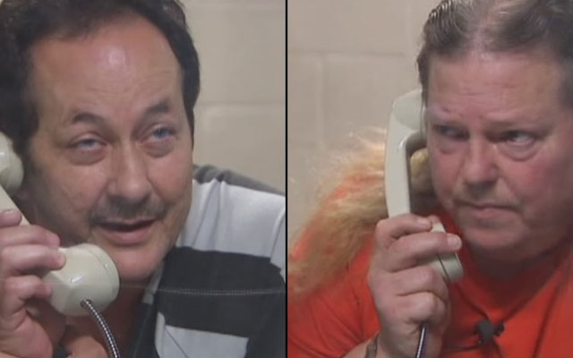 Nick Morale, 56, left, and Robert Miller, 52, are charged with making separate terroristic threats.