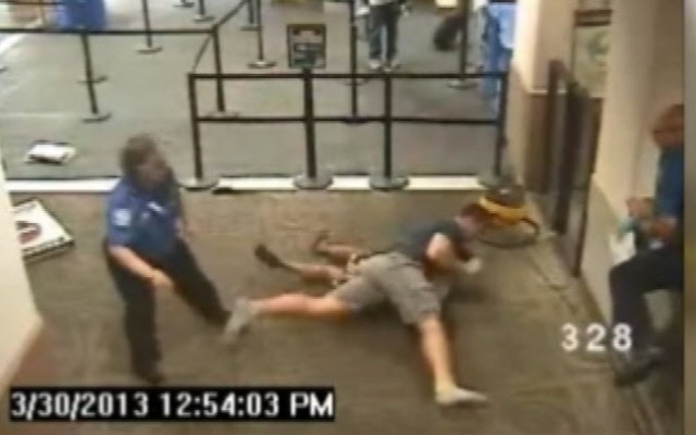 Off-duty Pinole police officer tackles a woman who was allegedly attacking a TSA agent on March 30 in the Honolulu airport.