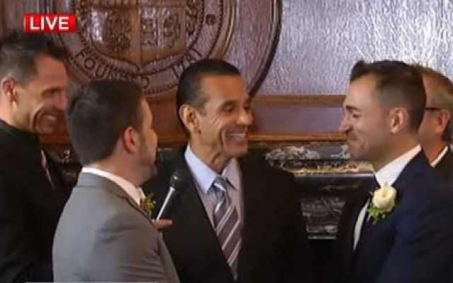 Paul Katami and Jeff Zarrillo, two of the plaintiffs in a challenge to Proposition 8, are married by outgoing LA Mayor Antonio Villaraigosa on June 28, 2013, just hours after a federal appellate court on Friday issued an order clearing the way for same-sex weddings to resume.