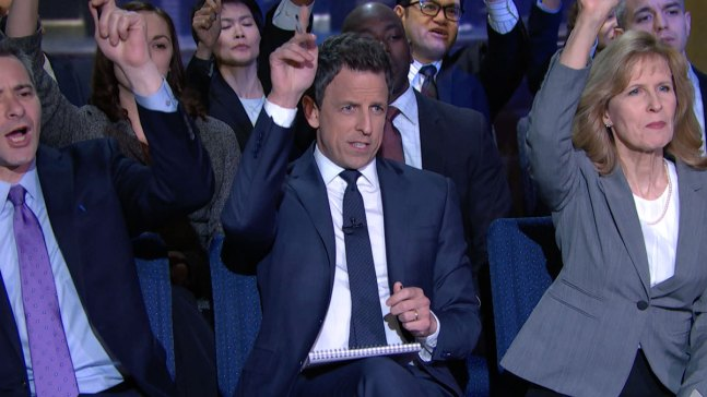 Seth Meyers Attends 'Late Night White House Press Briefing'