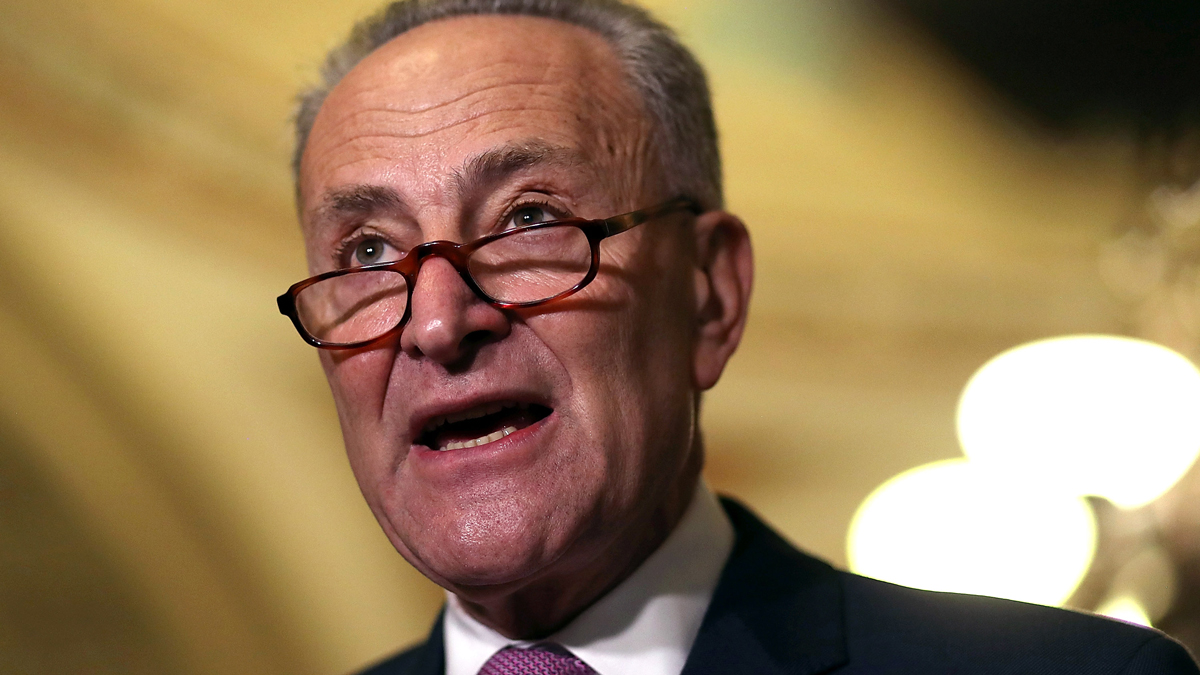 Senate Minority Leader Charles Schumer speaks to reporters during a news conference on Capitol Hill following a policy lunch on March 7, 2017, in Washington, D.C.