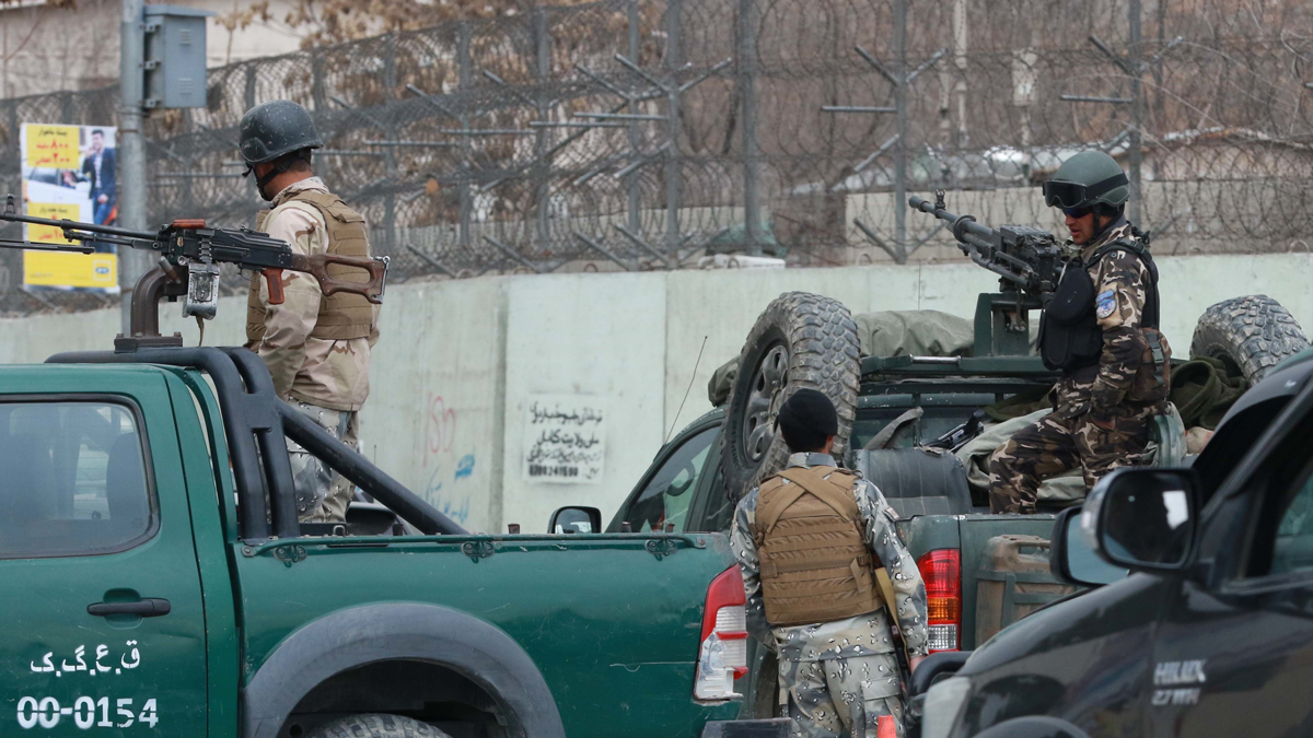 Afghan security forces block roads after an attack on the Dawood Khan Military Hospital in Kabul, Afghanistan, on March 8, 2017. The hospital is in Kabul's diplomatic enclave and close to the U.S. embassy and NATO headquarters. (Photo by Haroon Sabawoon/Anadolu Agency/Getty Images)