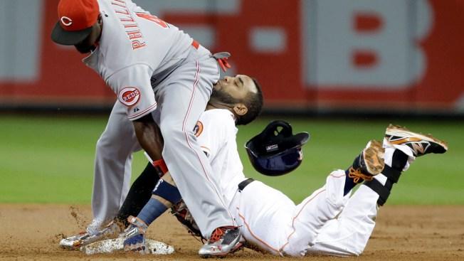 WATCH: Astros' Villar Slides Into Infielder's Backside