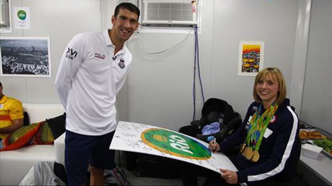 Katie Ledecky, Michael Phelps Re-Create 2006 Autograph Photo
