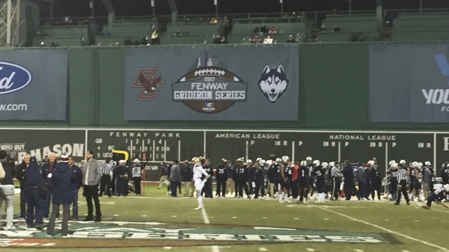 BC Beats UConn 39-16 in Wind and Rain at Fenway Park