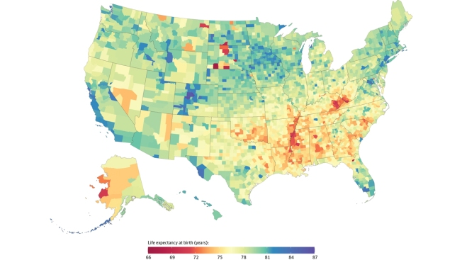 County-by-County, Life Expectancy Varies by 20 Years Across US