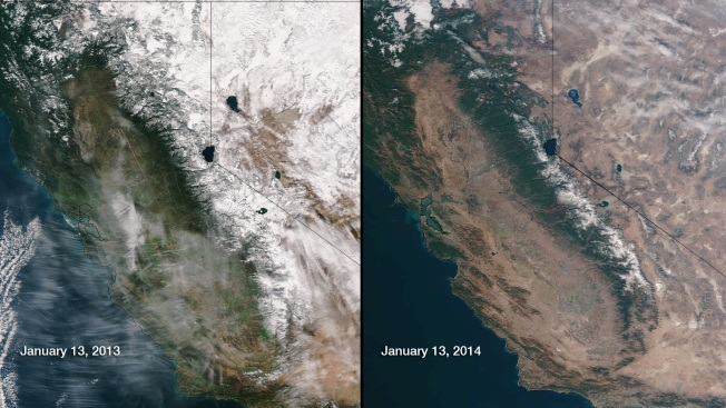 Satellite Map Shows California's Serious Drought Problem