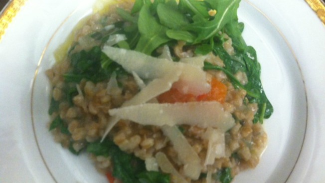 Farro with Argula, Roasted Red Peppers & Parmesan