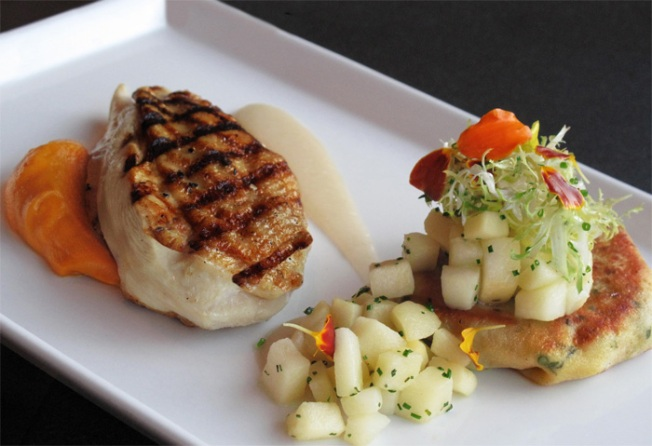 Quick Sauteed Chicken Breasts with Apple, Herb and Mustard Glaze