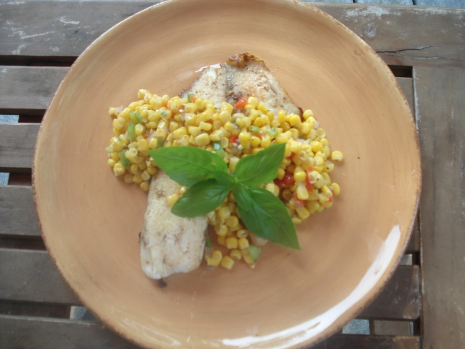 Jerked Tilapia with Summer Corn and Cucumber Relish