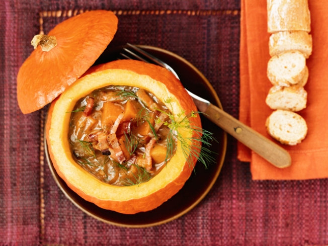 Roasted Winter Squash Soup with Apple and Jalapeno