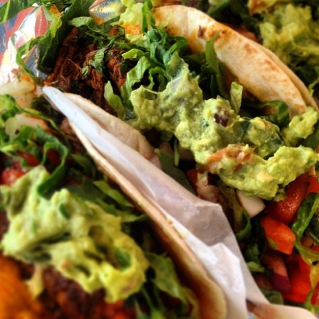 Jerk Pulled Pork Tacos with Tomatillo Ginger Guacamole with Mango and California Avocado
