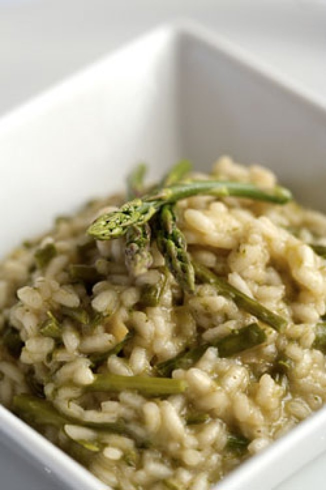 Spring Risotto with Wild Garlic Mustard Greens and Parmesan