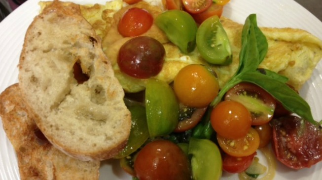 Summer Omelet with Heirloom Tomatoes, Basil and Mozzarella