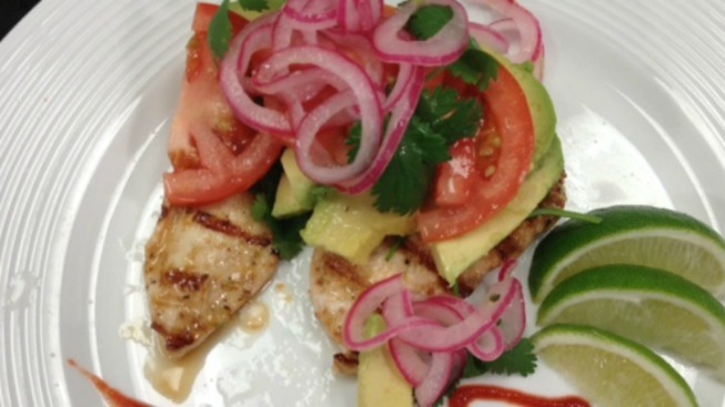Grilled Spicy Chicken with Avocado, Tomato, Red Onion and Cilantro