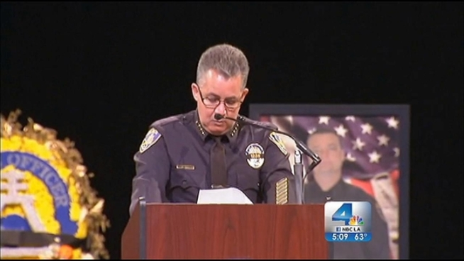 Thousands of mourners joined the family of Officer Michael Cain at Grove Community Church Wednesday for an emotional funeral service. Cain died after he was ambushed allegedly by Christopher Dorner on Feb. 7. Michelle Valles reports from Riverside for the NBC4 News at 5 p.m. on Feb. 13, 2013.