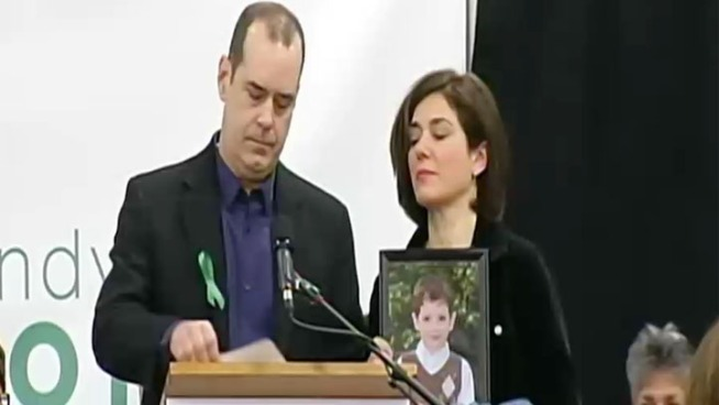 The parents of Avielle Richman and Benjamin Wheeler attended a news conference in Newtown on Monday morning about Sandy Hook Promise.