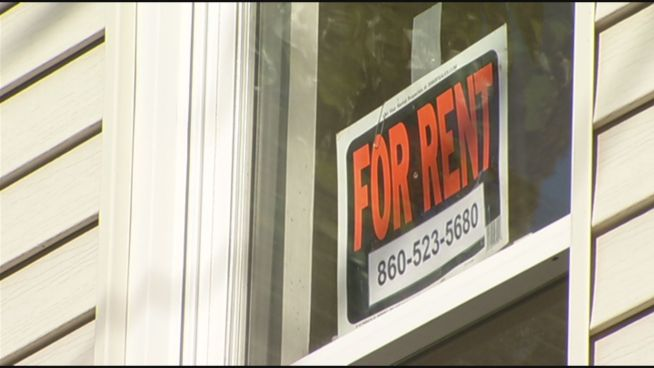 Hundreds of people gathered on Wednesday night at New Britain City Hall to protest new fees for landlords.