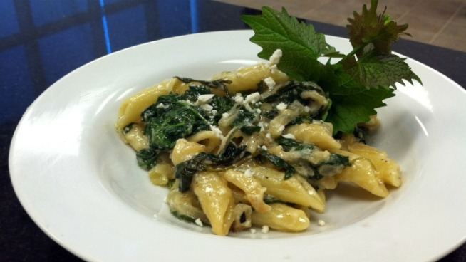Cavatelli Pasta with Wild Garlic Mustard Greens, Sweet Onion and Feta ...