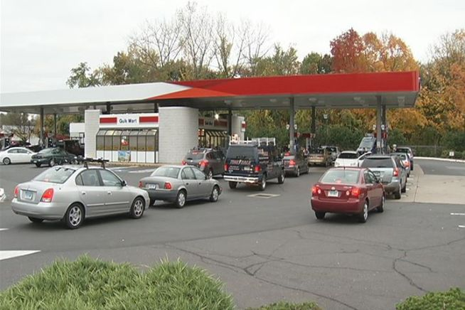 People lined up at the pumps and at hardware stores looking to fill up on fuel and stock up on the bare essentials.