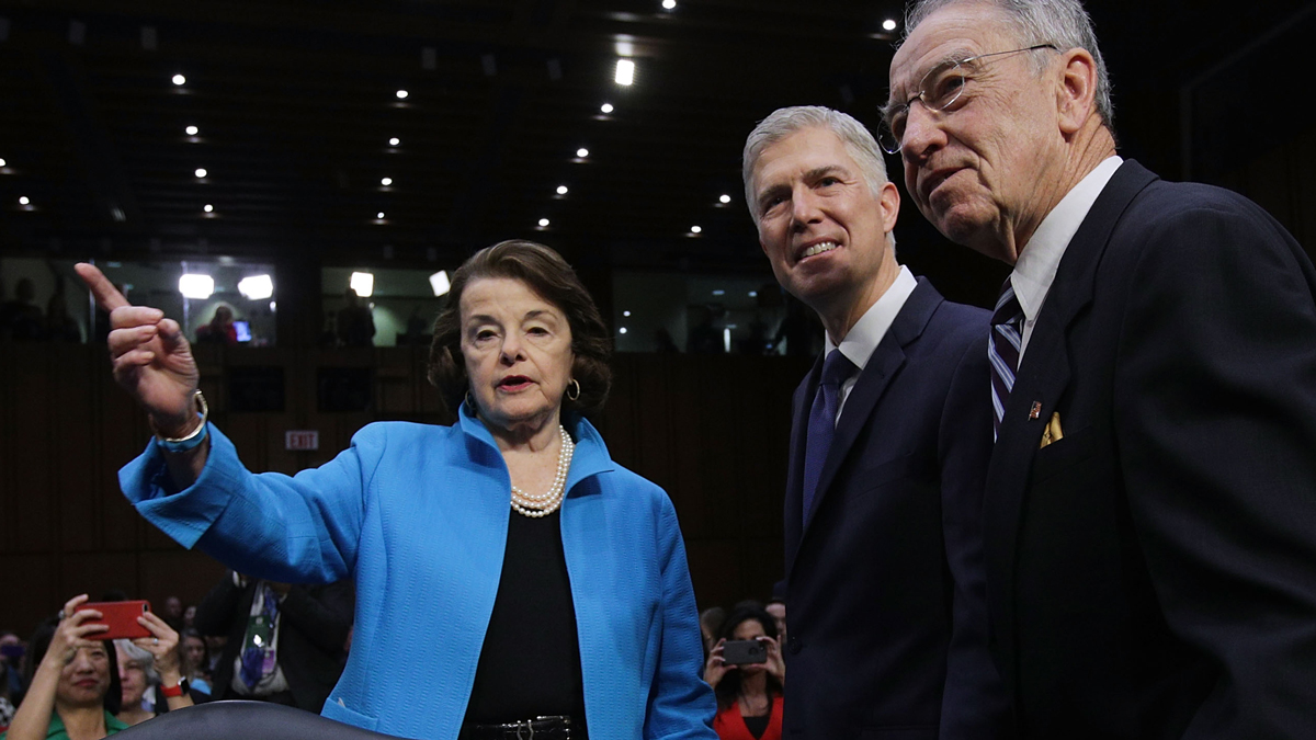 Judge Neil Gorsuch (center) at the first day of his Supreme Court confirmation hearing with Senate Judiciary Committee ranking member Sen. Dianne Feinstein (D-CA, left) and Chairman Charles Grassley (R-IA) on Capitol Hill March 20, 2017, in Washington, D.C. Gorsuch was nominated by President Donald Trump to fill the vacancy left on the court by the February 2016 death of Associate Justice Antonin Scalia. (Photo by Alex Wong/Getty Images)
