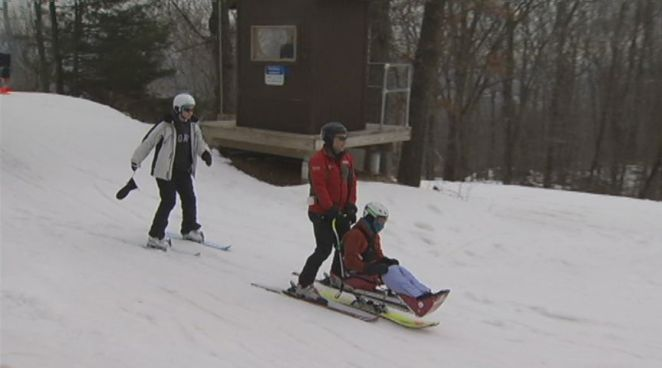 Individuals with disabilities practiced skiing at Mt. Southington in Plantsville on Tuesday.