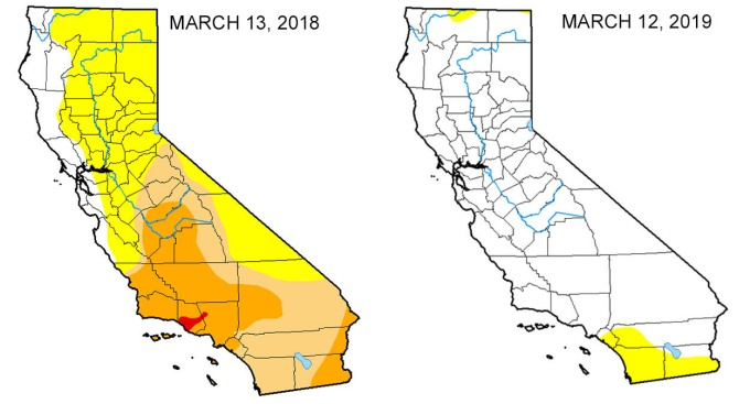 Map: Look at the Drought Difference in California From One Year Ago
