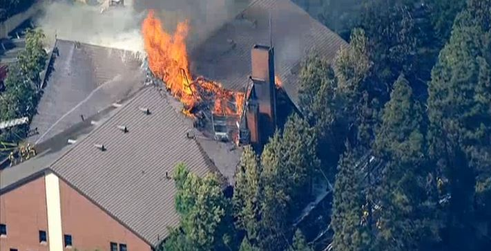 Firefighters battle a blaze at a church in Glassell Park on Tuesday, July 7, 2015.