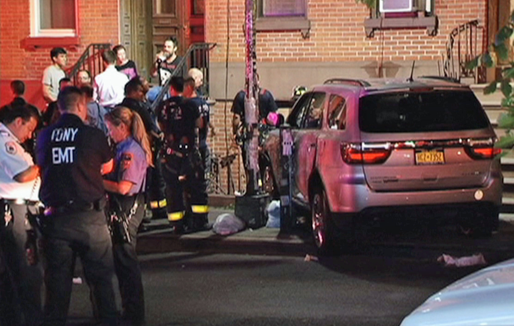 Four pedestrians were struck when the car, driven by an off-duty police officer, jumped a curb in Brooklyn.