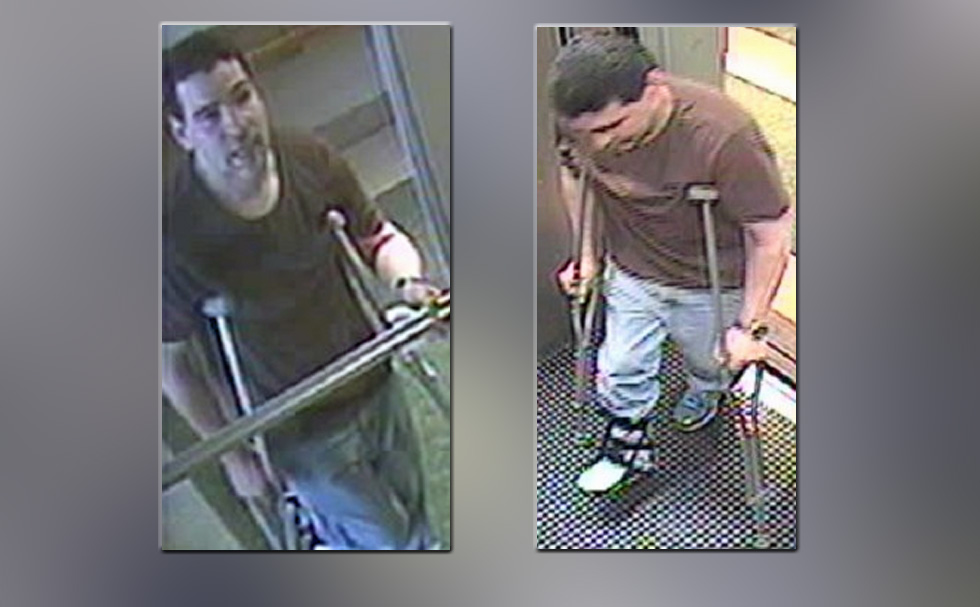 Police released these images of the medical-booted suspect.