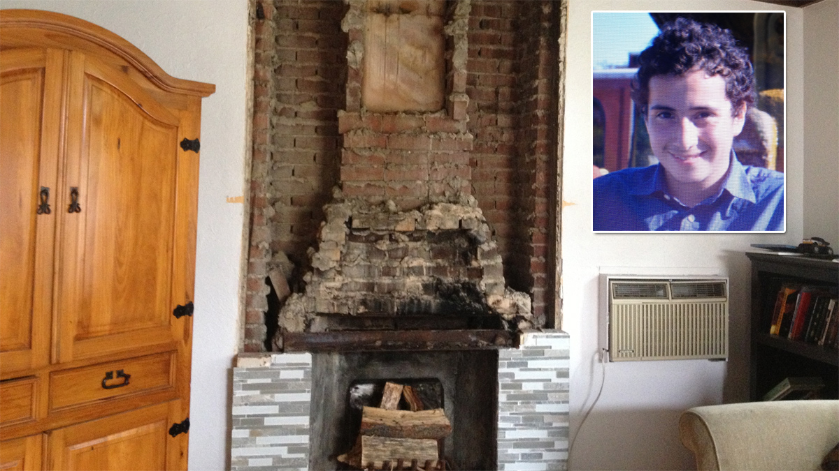 Image shows the fireplace that fell on Nicholas Dillon (photo inset), 13, in Napa on Aug. 24, 2014.