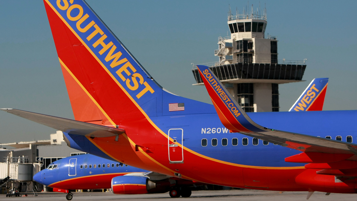 Southwest Airlines planes are seen at the Oakland International Airport in this October 16, 2008, file photo. (Photo by Justin Sullivan/Getty Images)