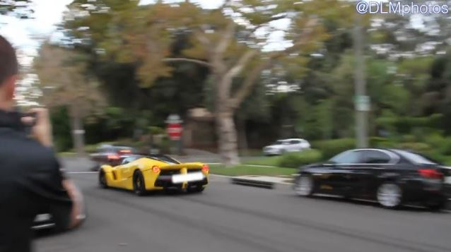 A yellow Ferrari could be seen in a YouTube video from Sept. 12, 2015 speeding through a Beverly Hills residential neighborhood.