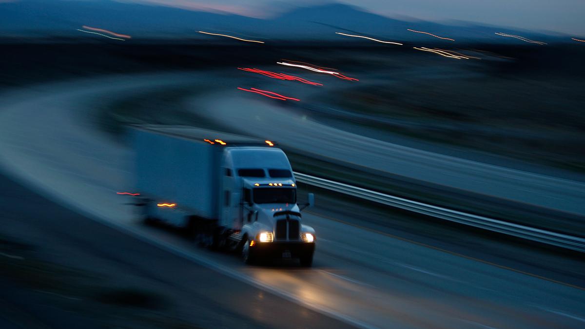A truck travels Interstate 10 on Jan. 17, 2010, near Indio, California.