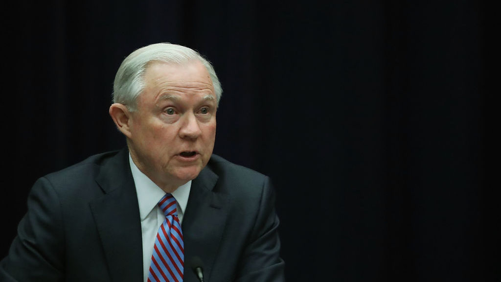 Attorney General Jeff Sessions speaks at the Department of Justice, April 18, 2016, in Washington, DC.