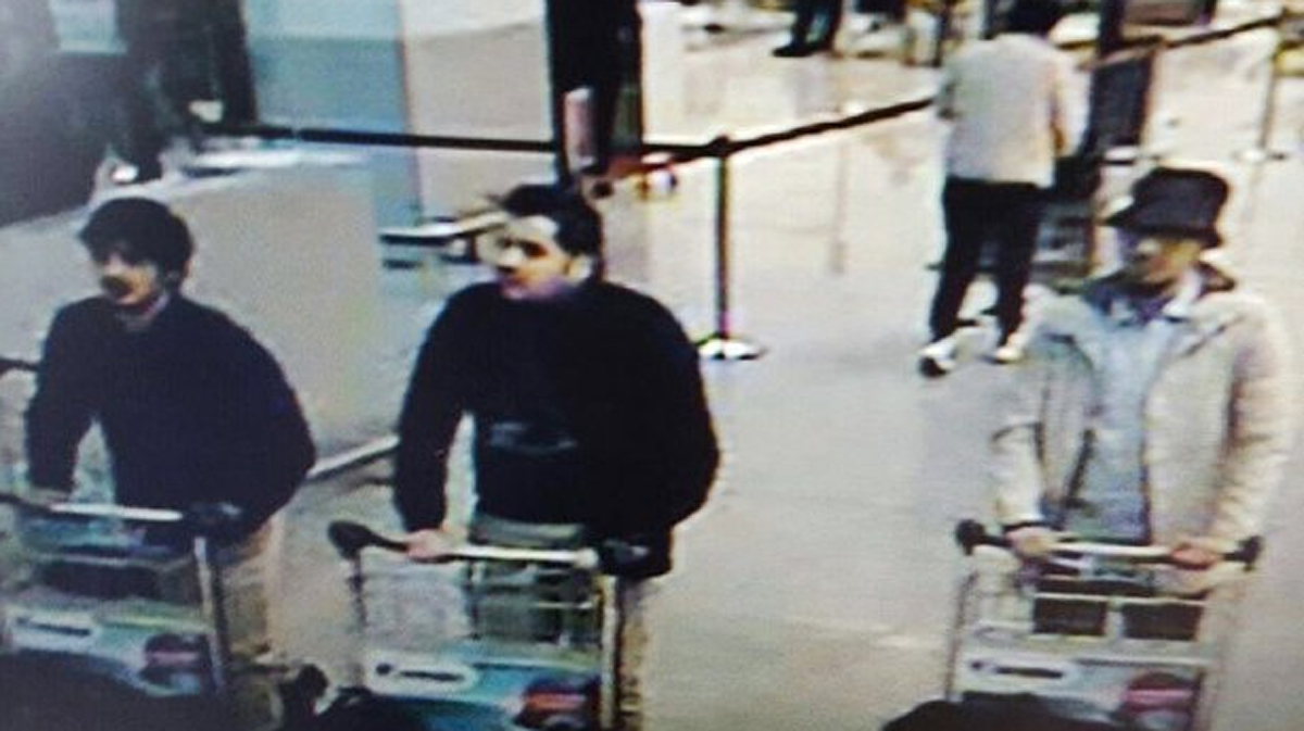The three men considered suspects by Belgian authorities are seen in footage from a security camera.