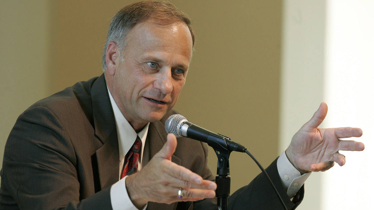 In this file photo from July 31, 2006, Rep. Steve King, R-Iowa, speaks during a farm bill congressional field hearing at Dordt College in Sioux Center, Iowa.