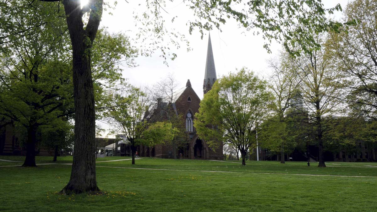 The main green of Wesleyan University.
