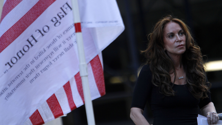 Pamela Geller listens to a speaker during a protest held in opposition to a proposed Islamic community center two blocks from the World Trade Center site,  Saturday, Sept. 11, 2010 in New York.  (AP Photo/Mary Altaffer)