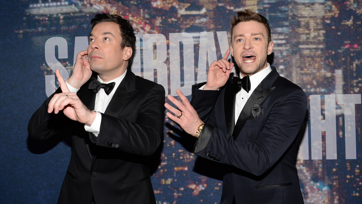 Jimmy Fallon, left, and Justin Timberlake arrive at the Saturday Night Live 40th Anniversary Special at Rockefeller Plaza on Sunday, Feb. 15, 2015, in New York.
