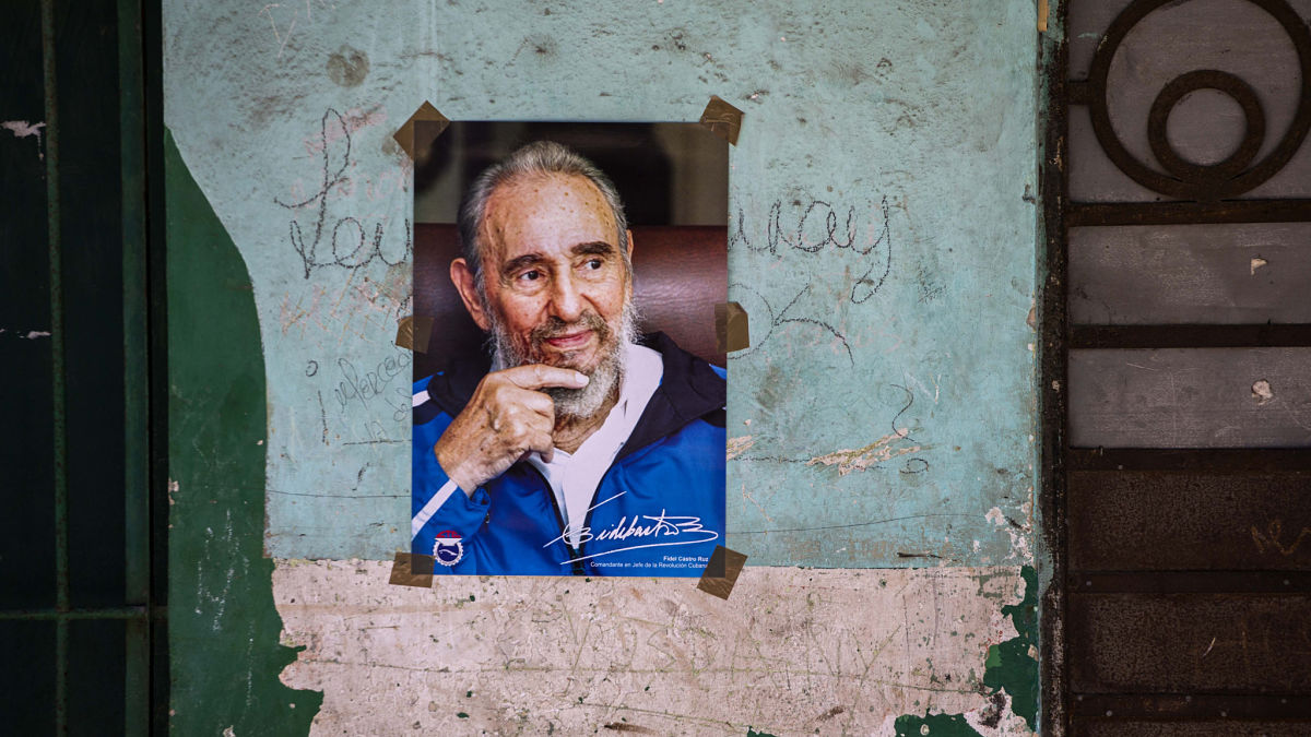 A poster of Cuban Revolution leader Fidel Castro is seen on a wall in Havana, Cuba, Saturday, Aug. 13, 2016. Castro passed away at the age of 90 Nov. 25, 2016.
