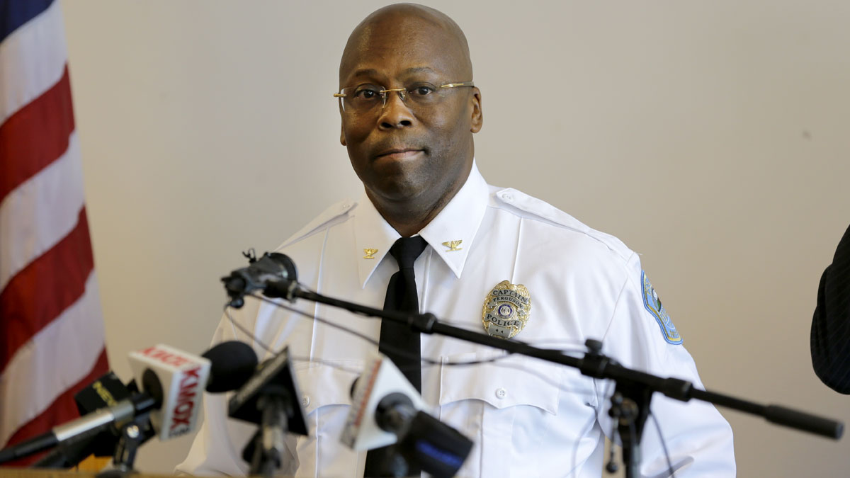 Andre Anderson speaks during a news conference announcing him as the interim police chief of the Ferguson Police Department Wednesday, July 22, 2015, in Ferguson, Missouri.
