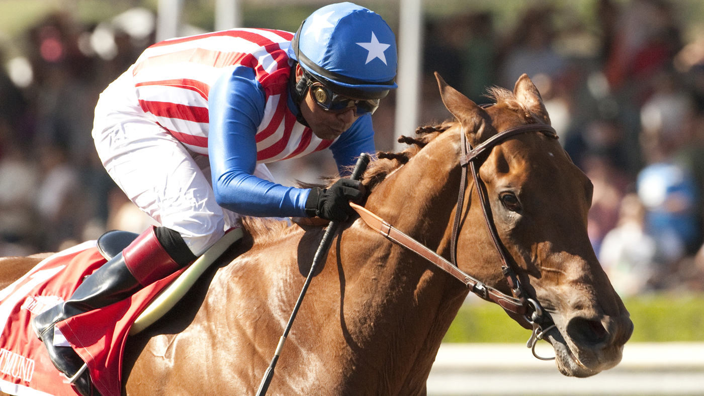 Dortmund, shown with jockey Martin Garcia at the Santa Anita Derby horse race April 4, is one of the top contenders for the Kentucky Derby this year.