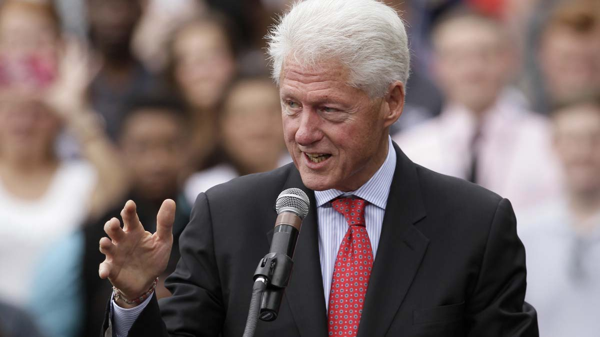 Former President Bill Clinton speaks at a political rally at the University of Central Arkansas in Conway, Ark., Monday, Oct. 6, 2014. (AP Photo/Danny Johnston)