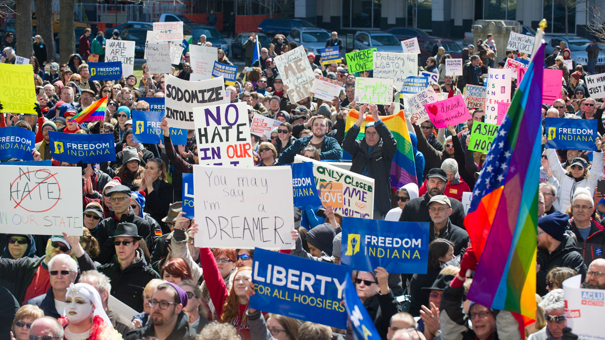 Thousands of opponents of Indiana Senate Bill 101, the Religious Freedom Restoration Act, gathered on the lawn of the Indiana State House to rally against that legislation Saturday, March 28, 2015.