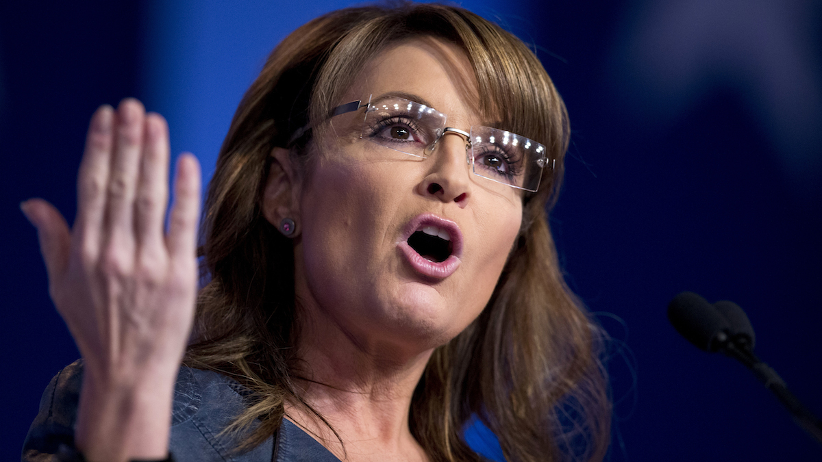 FILE - In this Sept. 26, 2014 file photo, former Alaska Gov. Sarah Palin and former vice presidential candidate speaks in Washington. Palin, the 2008 Republican vice presidential nominee, says she hopes to run for office again and is urging GOP leaders to have