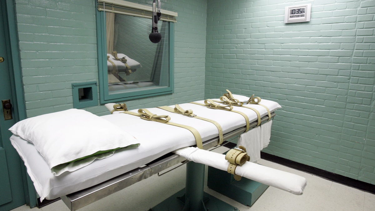 The gurney in the death chamber is shown in this May 27, 2008 file photo from Huntsville, Texas. Anti-death penalty advocates believe, Texas and other states are trumping up the possibility of violence to avoid having to disclose their name of suppliers, ensuring they can keep buying the drugs they need to put condemned inmates to death.