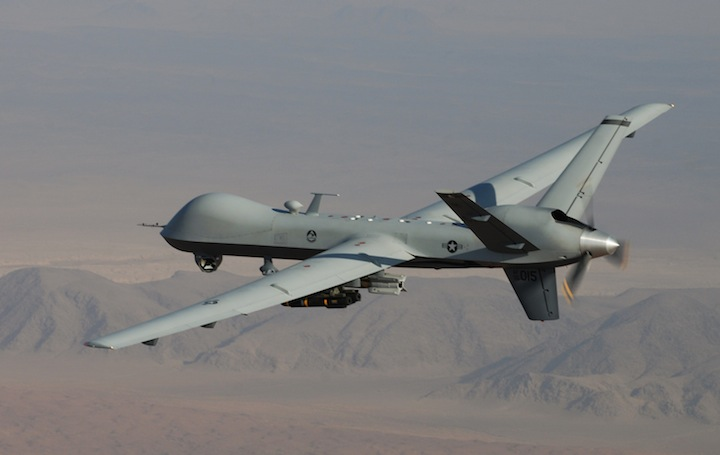FILE In this undated handout file photo provided by the U.S. Air Force, an MQ-9 Reaper, armed with GBU-12 Paveway II laser guided munitions and AGM-114 Hellfire missiles, is piloted by Col. Lex Turner during a combat mission over southern Afghanistan.
