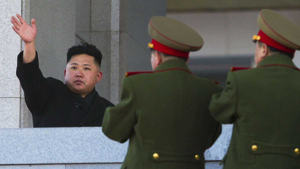 In this file photo, North Korean leader Kim Jong Un waves at Kumsusan Memorial Palace in Pyongyang after reviewing a parade of thousands of soldiers and commemorating the 70th birthday of the late Kim Jong Il on Feb. 16, 2012.